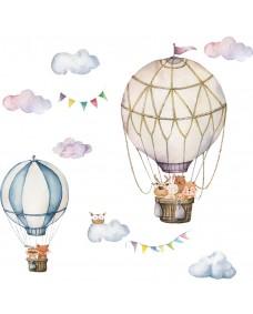 Wallstickers -Varmluftsballong med ugle