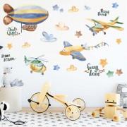 Wallstickers - Varmluftsballong og fly